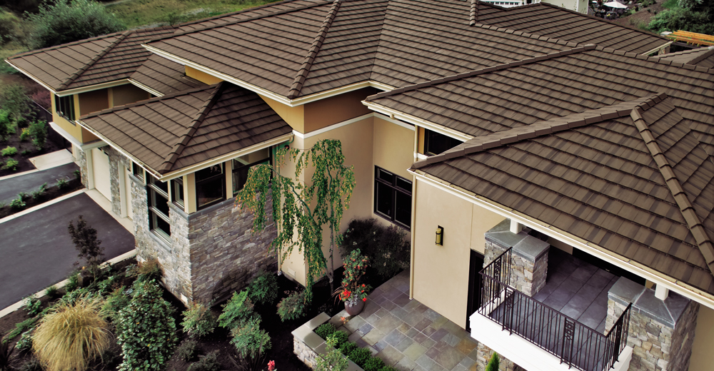 Concrete Tile Saxony 900 Slate Chestnut Brown Boral