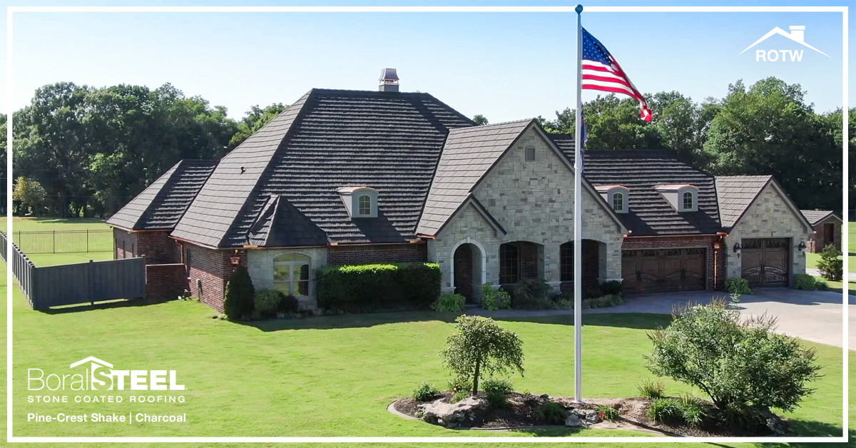 Showing the strength and durability of Boral Steel's Pine Crest Shake Product in Oklahoma by Nichtech Roofing