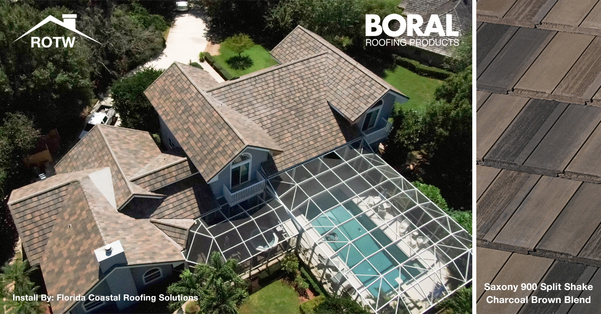 To display the installation of Boral Roofing's Saxony 900 Split Shake Concrete Roof Tile Product in a Charcoal Brown Blend